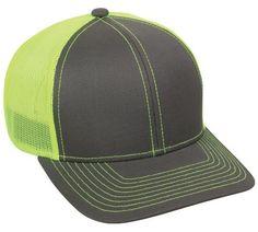 a790446994c Charcoal Neon Yellow Mesh Back Adjustable Velcro Hat