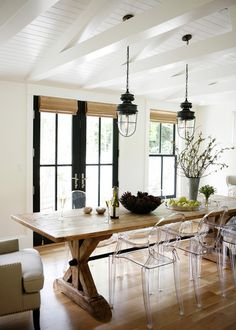 Farm table. Farmhouse style continues to grow in popularity, and long farm tables were a favorite in 2015 in every kind of home from strictly traditional to super contemporary. This trestle table is complemented by the overhead lanterns. The Louis XVI ghost chairs bring in a contemporary touch.