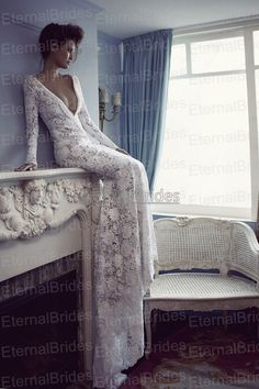 Vintage Lace Long Sleeves Mermaid Wedding Dress by EternalBrides, $419.00