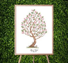Instant Download Fingerprint Tree Elisa with bunny decoration   Etsy Wedding Fingerprint Tree, Baby Shower Fingerprint, Fingerprint Art, Presentation Pictures, Gift Drawing, Thumb Prints, Best Memories, Ink Color, Creative Gifts