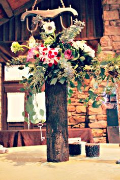 Rustic Centerpiece - Abe Martin Lodge - Allison Peabody Hall - Brown County State Park - #rustic #simple #wedding #abemartinlodge