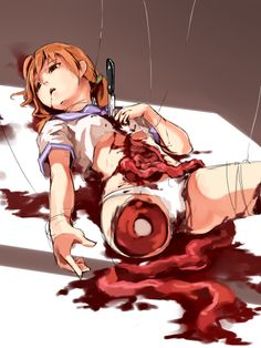 Bloody anime girl Gore Guro, is there Corpse Party