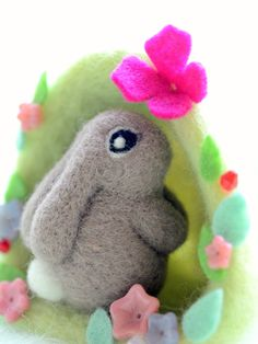 Needle felted bunny / rabbit in flower bush brown by NozomiCrafts, $29.00