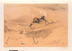'Chateau de La Roche, prés Landerneau', lithographie de Leon Gaucherel c.1840 representant le chateau de Roc'h Morvan.