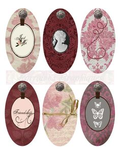 Victorian Oval Digital Tags or Labels