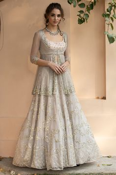 Buy Embellished Kurta Lehenga Set by Astha Narang at Aza Fashions Indian Fashion Dresses, Indian Bridal Outfits, Indian Gowns Dresses, Dress Indian Style, Pakistani Bridal Dresses, Indian Designer Outfits, Party Wear Indian Dresses, Party Wear Lehenga, Bridal Lehenga