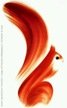 Animal squirrel 1 stroke