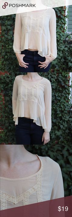 {Happening in the Present} sheer blouse Look ethereal in the dreamy sheer blouse!  Size S  Shoulder to hem apx. 20.5 in Across chest apx. 18 in Tops Blouses