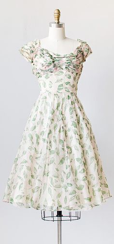 Hitherlo Spring Dress | vintage 1950s silk organza leaf print party dress
