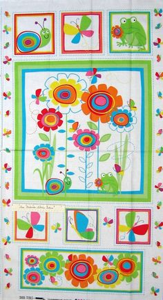 "23"" Fabric Panel - Studio E Snail Trails Frog Butterfly Floral Wallhanging White #TroyCorporation"