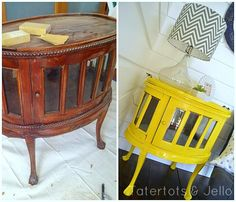 yellow cabinet before and after. great idea in orange for the master bedroom piece I never can find.