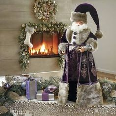 Violet Gray Santa by Katherine's Collection 32 in. Father Christmas, Santa Christmas, Christmas Crafts, Christmas Ideas, Purple Christmas Decorations, Holiday Decor, Victorian Christmas, Vintage Christmas, Santa Doll