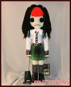 Roller Derby Doll... creepy gothic folk art by Jodi Cain Tattered Rags   www.tatteredrags.net