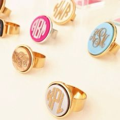 Youll love these acrylic, oval vineyard rings for their pop of color and true customization 30 color options, gold or silver bezels and fonts, as well as different font styles! Jewelry Box, Jewelery, Jewelry Accessories, Diy Jewelry, Monogram Jewelry, Monogram Rings, Monogram Bracelet, Different Font Styles, The Bling Ring