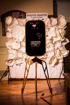 paper flowers backdrop + cool photobooth #photobooth #paperflowers #backdrop #photoboothbackdrop #wedding #londonwedding #london #airstream #caravanphotobooth