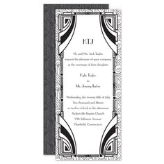 Are you in love with the glamour of art deco style? Make a stunning statement with this two-sided, black and white wedding invitation! Perfect for the Gatsby-lover! #greatgatsby #davidsbridal #weddinginvitations #gatsbywedding