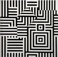 Victor Vasarely- i like the way in which this piece creates and optical illusion of squares and diamonds. Because each stripe overlaps and has been placed in a certain way the image creates an optical illusion of the shapes.