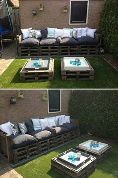 Pallet project: repurposed pallet as foundation for patio furniture. I want to do a smaller version of this for the corner of my balcony.
