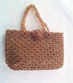 Sparkling Vintage 1950s Amber Spice Transparent Beaded Hand Bag Purse. Basket Design.