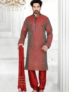 Praiseworthy Sheded Maroon Art Silk Wedding Kurta Pajama