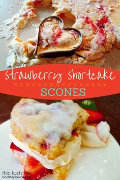 Strawberry Shortcake Scones with Coconut Cream Glaze - perfect breakfast treat! Or maybe even dessert. Or a snack. Or anytime, really.