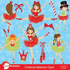 80%OFF Christmas Ballerinas Ballerina clipart illustration Ballet clipart Christmas clipart nutcrackerinstant download AMB-571