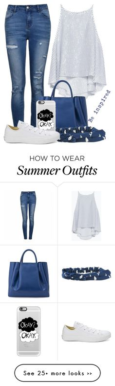 """Casual Blue and White Summer Outfit"" by cloudybooks on Polyvore"