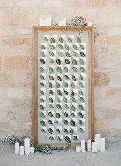 Pretty Pear & Leaf Escort Cards & Table Number Ideas from Amy Osaba Design ~ leaf escort card display