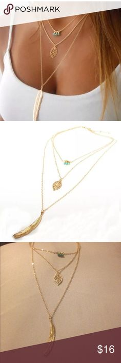 5/$25 Leaf layer Necklace NWOT gold leaf layer necklace with turquoise color beads. Jewelry Necklaces