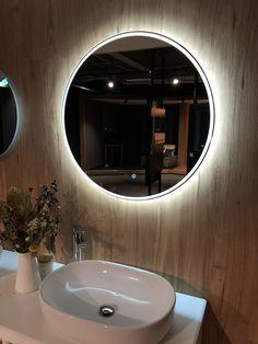 Backlit Mirror Remer Round a Mirror Circle Mirror Sphere Mirror LED Mirror Best Bathroom Lighting, Bathroom Mirror Lights, Bathroom Light Fixtures, Glass Bathroom, Bedroom Lighting, Bathroom Ideas, Makeup Mirror With Lights, Vanity Bathroom, Bedroom Decor