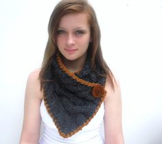 Check out this item in my Etsy shop https://www.etsy.com/listing/75831747/gray-scarf-with-cables-caramel-trim-and  #knitting #handknit
