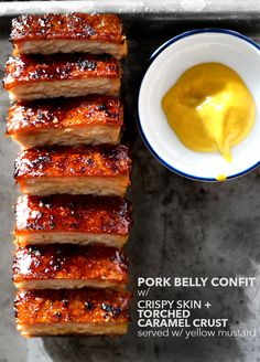 Confited Pork Belly with Torched Caramel Crust & Yellow Mustard . Probably wouldn't want the yellow mustard but yumm pork belly Pork Belly Recipes, Meat Recipes, Cooking Recipes, Best Pork Belly Recipe, Confit Recipes, Pork Dishes, Food 52, Superfood, Food Inspiration
