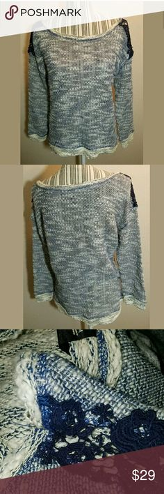 Jessica Simpson Sweater Lace Detail Jessica Simpson Sweater Lace Detail Navy Blue White Medium  Cute sweater.  20 inches pit to pit.  23 inches long.     LB Jessica Simpson Sweaters Crew & Scoop Necks