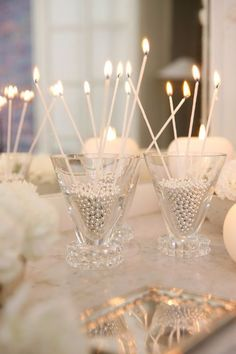 Candlesticks in Pearl or Silver Ball Filled Glasses!  Gorgeous For New Year's Eve!