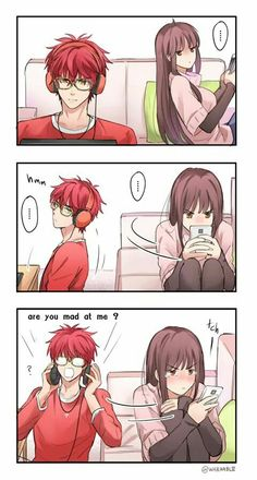 Luciel - MC [1/2] Short Girlfriend, Zen, Saeyoung Choi, Kawaii, Mystic Messenger Comic, Jumin Han, Saeran, Diabolik Lovers, Manga Couple