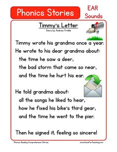 This Reading Comprehension Worksheet - Timmy's Letter is for teaching reading comprehension. Use this reading comprehension story to teach reading comprehension.