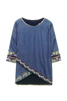 Blaues T-Shirt mit 3/4-Ärmeln - Exotic Jasper | Desigual.com