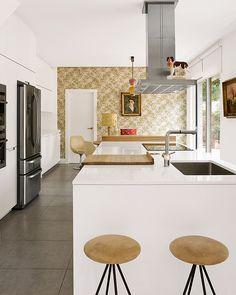 Maine House, Kitchen Colors, Kitchen Island, Mid Century, Table, Furniture, Design, Home Decor, Kitchens