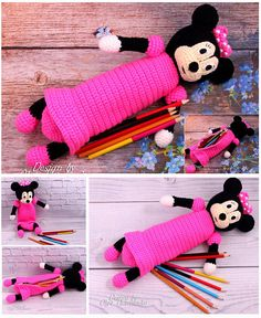 Crochet pencil case for girls - school fashion accessory. Pencil case is made in the form of the hero Minnie Mouse!  Bright pencil case. Colour black and pink - favorite color of each girl. This pencil case is a favorite subject and a good gift.  Every child wants to be special among your friends, so exclusive things exist in this world.  Pencil roomy. It is in the form of Minnie Mouse figurines. Originality - a matter of taste!  The foam can be used as a cosmetic case or for hooks and other… Crochet Pencil Case, Crochet Case, Crochet Toys, Amigurumi Toys, Amigurumi Patterns, Favorite Subject, Favorite Color, Minnie Mouse Purse, Pencil Cases For Girls