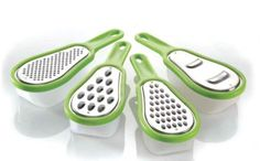 Easy Graters, Set of 4, Cheese and Vegetable Graters by National Imports. $11.99. 8-Piece grater set features 4 interchangeable blades. Separate stainless steel blades grate, shred, and slice. Measures 6-inch long by 2-1/2-inch wide. Dishwasher safe. Easy grip handles. Handy cheese graters each with a different textured surface to meet all your grating needs:  Super-fine, fine, coarse and slicing surfaces that make grating easy!  Durable stainless steel with att...