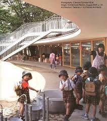 Resultado de imagem para Takaharu Tezuka kindergarten Japanese Architecture, School Architecture, Primary School, Pre School, Takaharu Tezuka, Biophilic Architecture, Kindergarten Design, Future School, Montessori Education