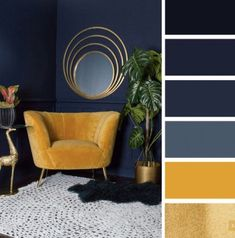 The best living room color schemes - Navy blue + yellow mustard and gold color scheme, elegant looks Mustard Living Rooms, Mustard Bedroom, Navy Living Rooms, My Living Room, Living Room Decor, Blue Yellow Living Room, Good Living Room Colors, Living Room Color Schemes, Colour Schemes