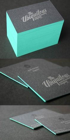 Bold and thick edge painted letterpress business cards designed for Ubiquitous, a creative design agency.