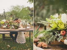 white, green and red textural centerpiece with flowers, ferns and fruit | photo: nbarrettphotography.com