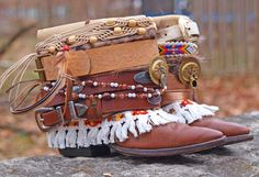 Upcycled Reworked Boho Cowboy Boots by TheLookFactory on Etsy