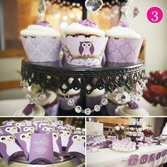 Purple baby shower with owls, too cute