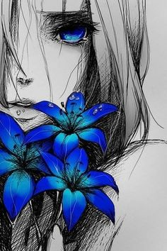 Sad anime girl with blue flowers