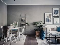 Small living room in grey and white