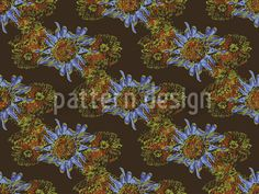 Aster Brown by Dylan Farrell available for download on patterndesigns.com Swiss Design, Aster, Vector Pattern, That Look, Patterns, Brown, Floral, Painting, Block Prints