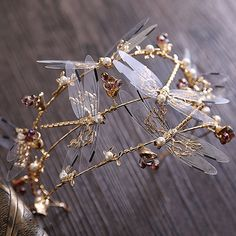 Crown three layer dragonfly bridal hair accessories the wedding crown beauty crowns tiaras bridal headband Gold Hair Accessories, Wedding Accessories, Hair Tiara, Bridesmaid Headband, Floral Headdress, Accesorios Casual, Crown Headband, Bridal Tiara, Tiaras And Crowns